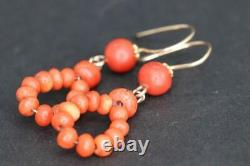 Lovely Antique Victorian 9ct Gold & Carved Coral Earrings