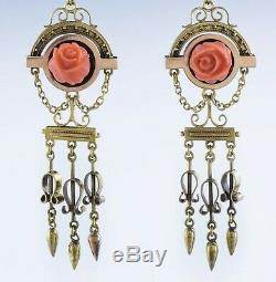 Lovely Victorian 14k Gold Carved Coral Rose Earring & Necklace Set Demi-Parure