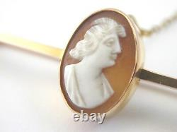 Lovely Victorian bar brooch with carved hardstone cameo in 9ct gold rare