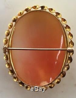 MUSEUM QUALITY HAND-CARVED VICTORIAN SHELL CAMEO BROOCH 10K GOLD Flora
