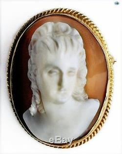 Magnificent Antique 14K Gold Hand Carved Victorian Cameo Shell Brooch
