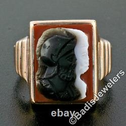 Men's Antique Victorian 10k Gold Carved Trojan Agate on Carnelian Cocktail Ring