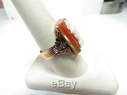 Men's Victorian 14k Rose Gold 1 Piece Hand Carved Stone Cameo Soldier Ring