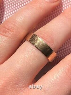 Mens Antique Victorian Georgian 11.85 g heavy carved engraved Rose Gold ting U