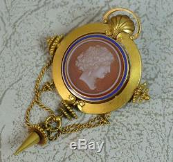 Mid Victorian 15ct Gold Carved Agate Cameo & Enamel Brooch in Box D2093