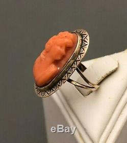 OLD VICTORIAN 14k YELLOW GOLD CARVED UNDYED ORANGE CORAL CAMEO RING, SZ 3 1/4