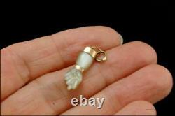 Old Victorian Carved Mop Figa Hand 14k Gold Charm Pendant 1m27