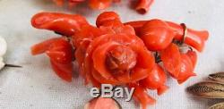One Of A Kind Victorian Era Red Coral & Low Gold Hand Carved Brooch Pin