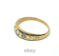 Original Antique 18k Gold Victorian Unisex Ring 0.40´ct Diamond Carved