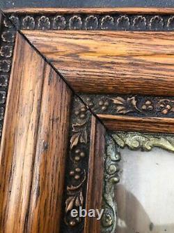 Ornate vintage Victorian oak carved vine picture art frame 17/15 art 8/10