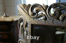 Outstanding Large Painted/gilt Victorian Bevelled Wall Mirror In Carved Wood