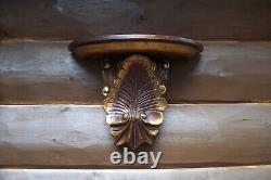 Pair Of Antique Victorian Era Hand Carved Corbels Wall Shelves Gold Gilt Paint