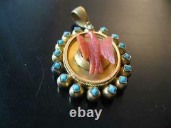 RARE ANTIQUE 18k GOLD TWO SIDED LOCKET CARVED CORAL BIRD TURQUOISE VICTORIAN