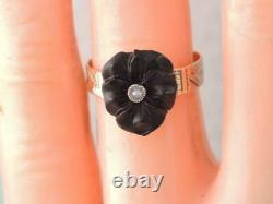 RARE ANTIQUE VICTORIAN SOLID 10k GOLD CARVED BLACK ONYX PANSY FLOWER RING 5 1/2