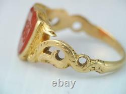 RARE ANTIQUE VICTORIAN SOLID 18K GOLD CARVED CARNELIAN WAX SEAL RING sz 7