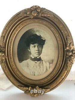 RARE Victorian African-American Girl Print Photo Old Carved Wood Gold Frame