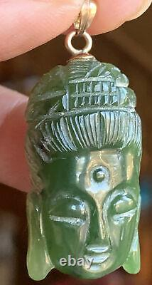 Rare Antique Japan Natural Green Jade Carved Momo Kwan Yin 18k Gold Pendant