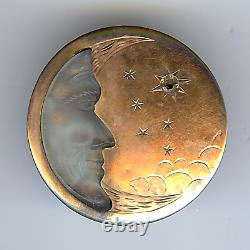 Rare Antique Victorian Gold Fill Carved Camphor Glass Man In The Moon Pin Brooch