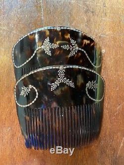 Rare Antique Victorian Hand Carved Tortoiseshell & Gold Spanish Mantilla Comb