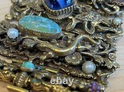 Rare Victorian 12 Karat Gold Filled Carved Scarabs Bracelet with Dragons &Stones