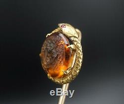 Rare Victorian 14k Gold Carved Intaglio Snake Serpent Medusa Stick Pin 3 OG298