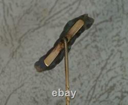 Rare Victorian Gold and Carved Labradorite Caterpillar Stick Tie Pin d2106