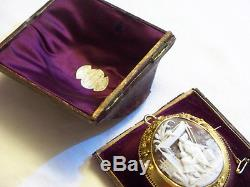 Rare Victorian Large 15ct Gold Oriental Chinese Carved Shell Cameo Brooch & Box