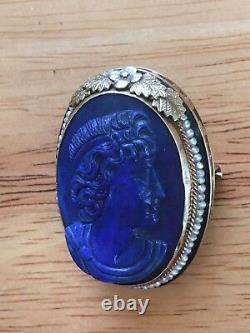 Roman 14K GOLD Carved Lapis Pearl Brooch Pin Cameo Exquisite Art Deco Victorian