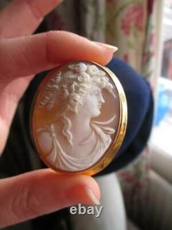 Romantic Victorian hand carved cameo portrait brooch/pendant in 9ct yellow gold