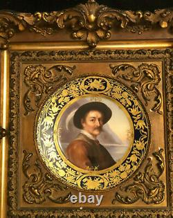Royal Vienna 19th c Hand Painted Portrait Plate in Carved Gilded Antique Frame