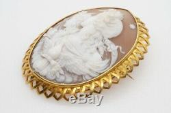 SUPERB ANTIQUE VICTORIAN 15K GOLD CARVED SHELL NIGHT & DAY CAMEO BROOCH c1870