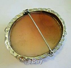 Selene Luna Greek Goddess Estate Victorian 14K White Gold Carved Shell Cameo Pin