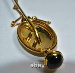 Solid 18k gold stick pin with carved lava cameo Antique Victorian Grand Tour Italy
