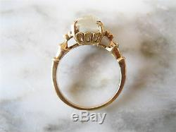 Spectacular Victorian Carved Moonstone Cameo Ring 10k Yellow Gold Size 5 1/4
