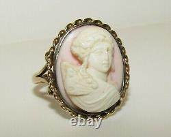 Splendid, Antique Victorian 9 Ct Gold Carved Angel Skin Coral Cameo Cherub Ring