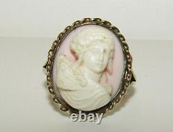 Splendid, Antique Victorian 9 Ct Gold Carved Angel Skin Coral Cameo Ring
