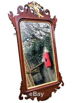 Stunning Antique Victorian Mahogany & Gold Gilt Fret Carved Eagle Wall Mirror