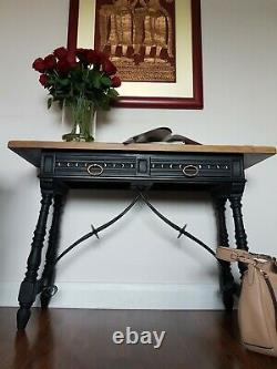 Stunning Black with Gold Carved Victorian Gothic Wood & Metal Hall Console