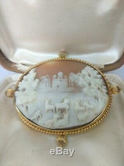 Stunning Victorian Large Gold Carved Shell Cameo Brooch. High Carat Gold