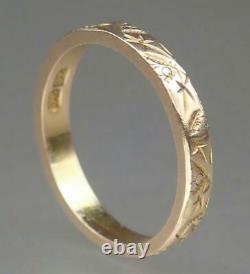 Sublime Antique Victorian 9K Gold 2.7mm Floral Carved Wedding Band Ring Sz 5.75
