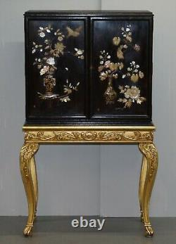 Sublime Chinese Chinoiserie Signed Drinks Cabinet With Gold Giltwood Carved Base