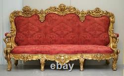 Sublime Hand Carved Circa 1860 Paris France Baroque Gold Giltwood Settee Sofa