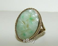 Superb, Victorian 9 Ct Gold Ring With Natural Carved Jade