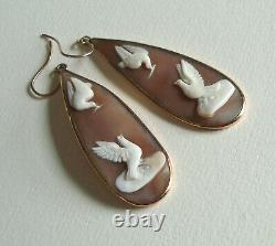 Superb Victorian Carved Shell Cameo Earrings, Doves In 18ct Gold, Long Drops