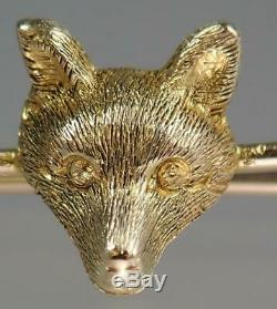 Sweet Antique Victorian 15K Gold Carved Fox Head Mask Tie Scarf Pin Hunting