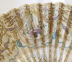 True Antique Victorian Hand Painted Gold Sequins Bone Carved Jewel Dress Fan