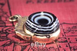 Unusual Antique Victorian English 9k Gold Spinner Fob Carved Agate 1/2 Sovereign