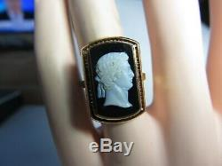 VICTORIAN 14K SOLID GOLD RING With 1 PIECE WELL CARVED STONE CAMEO
