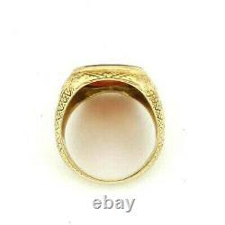 VICTORIAN 14K Yellow Gold Carved Carnelian Signet Ring