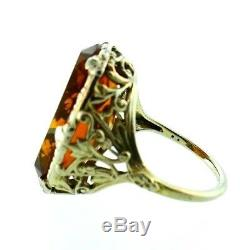 VICTORIAN 14k White Gold & Carved Citrine Cameo Ring Circa 1900s